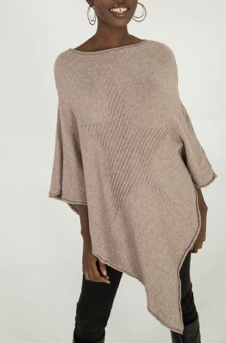 BEIGE STAR KNITTED PONCHO JUMPER ONE SIZE 8-18